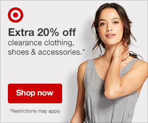 Extra 20%  - Off Clearance items in clothing, shoes, and accessories.What a great time to restock staples like t-shirts!