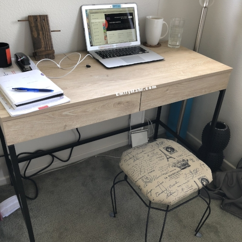 It took me a along time to decide on a desk!We've lived in Hawaii almost 2 years, and I am so glad I waited until I found the perfect desk! Stool is from our local TJ Maxx;my chair delivers tomorrow.