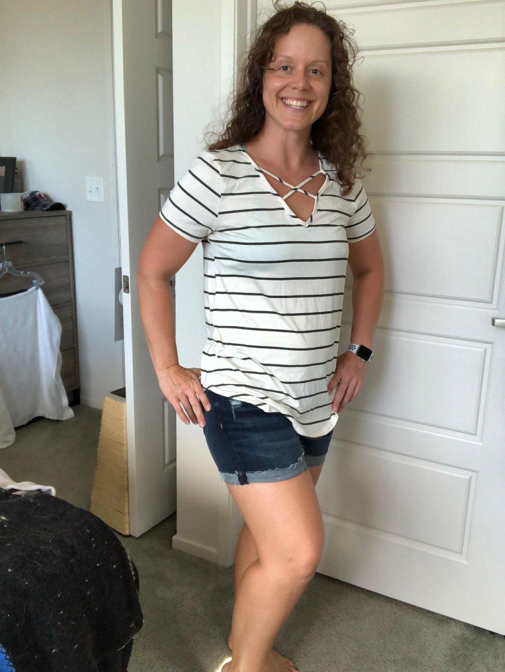 Stripe Tee & Cuffed Shorts