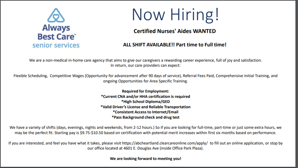 Always Best Care Senior Living Now Hiring Allied Health Career