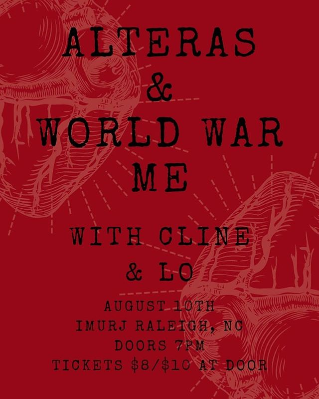 THIS FRIDAY! Doors at 7PM. Come hang at @imurjraleigh! We'll be opening for @alterasband and @worldwarme_ ! . . . . .  #imurj #raleigh #indie #rock #localmusic #alternative #altindie #altrock #livemusic #northcarolina