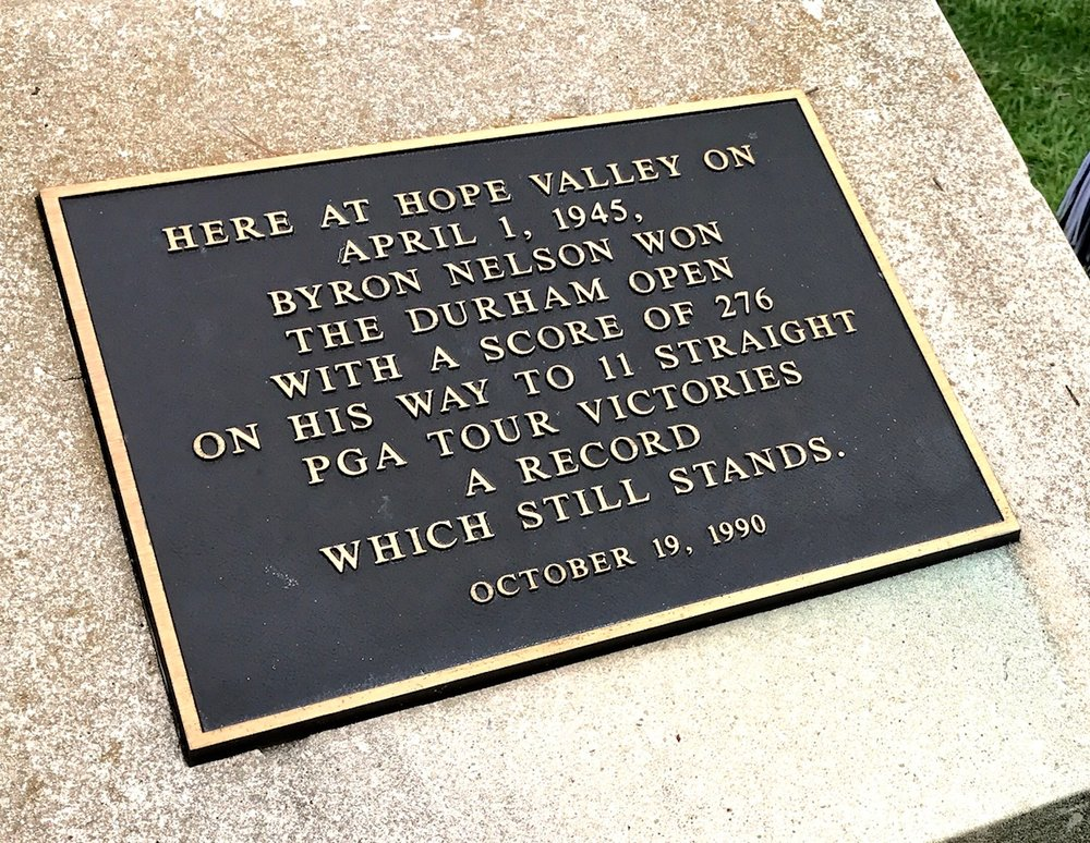 This stone monument pays tribute to Bryon Nelson having won at Hope Valley in 1945.