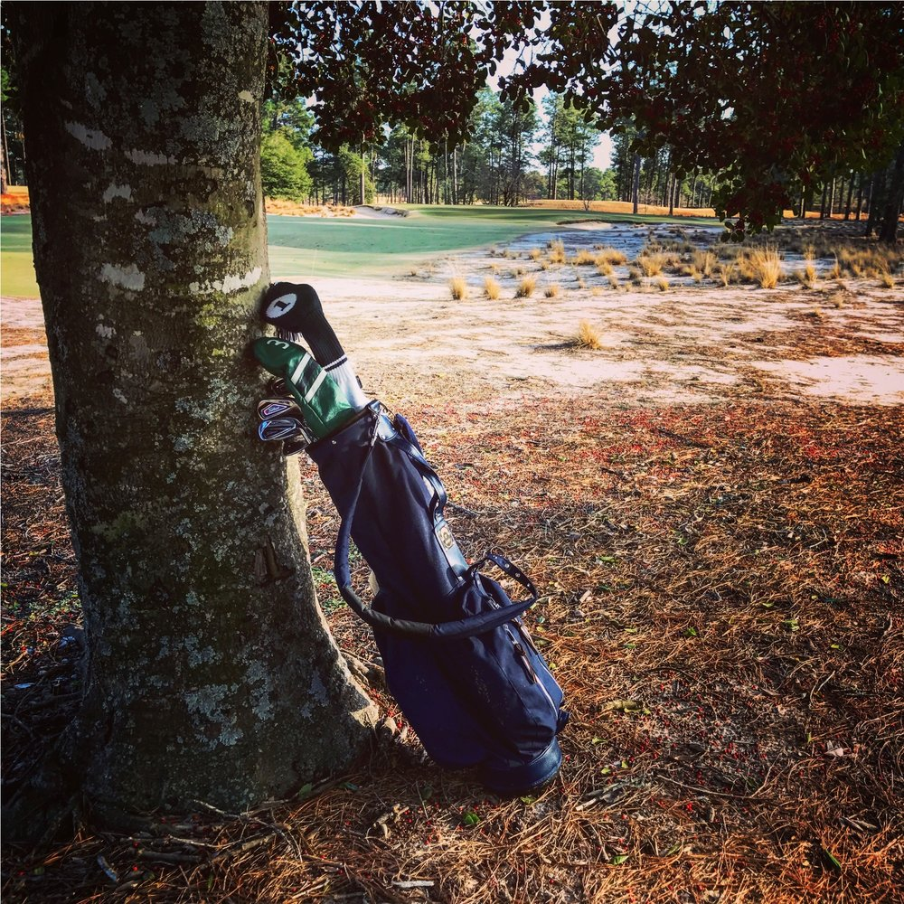 The pine straw, hardpan, wiregrass and jagged edges of No. 2 are best experienced with bag slung over shoulder, one step at a time.