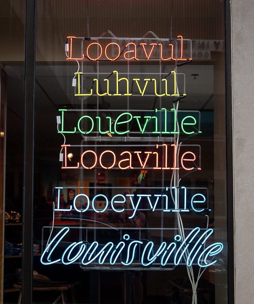 Louisville sign Kentucky Bourbon Trail