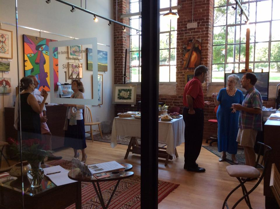 "Fine artists and guests visit the Revolution Mill-based art studio I share with 5 other painters in Greensboro, NC. We call it  ""Suite Art 144""."