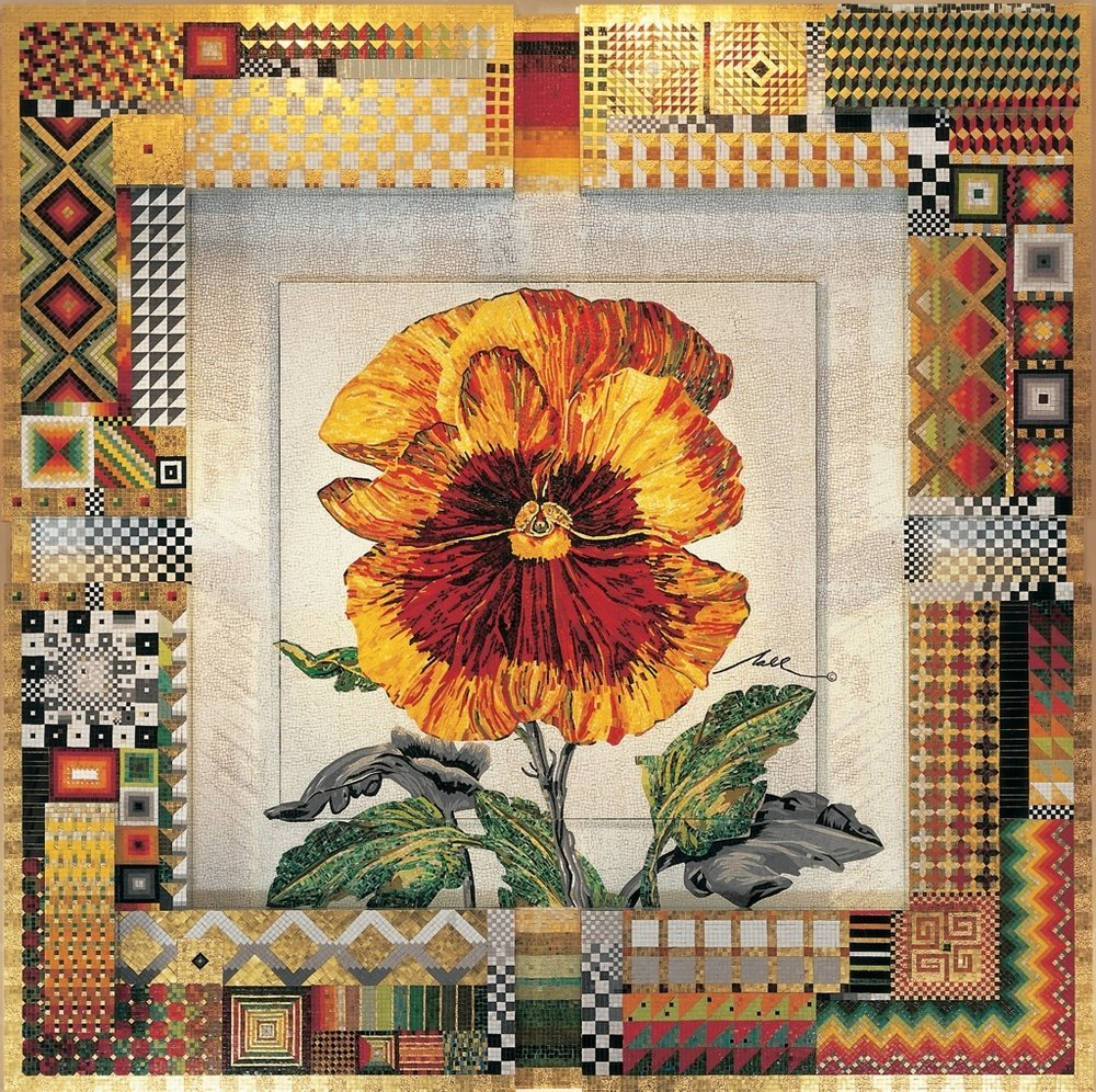 'Commission for HRH Prince Albert of Monaco - Red and Yellow Pansy Mosaic' -SOLD
