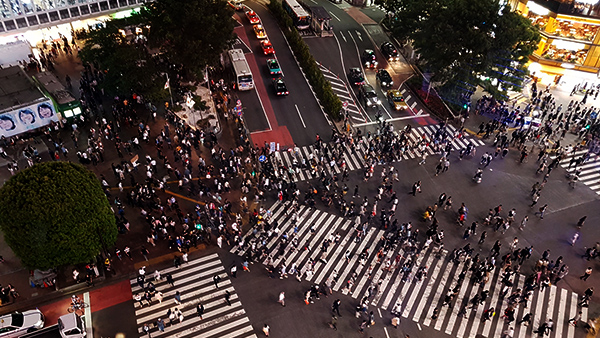 Birdseye View of Shibuya Crossing from the recently opened Magnet by Shibuya109 Rooftop.  Image Source: Author's Own Image.