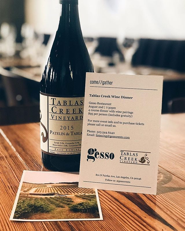 Come one come all! This Thursday will be our next installment of our wine dinners. Our featured winery this month is @tablascreek from Paso Robles, who are dedicated to the traditional grape varietals of the Rhône Valley in France. 4 courses for only $95. Call us at 323.544.6240 or email us at listening@gessoresto.com to make a reservation. This event will sell out so book your spot now!
