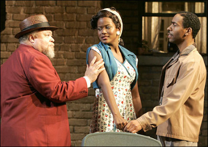Seven Guitars - Signature Theater ProductionDirected by Tony Award Winner Rueben Santiago Hudson. In this picture Cassandra is (Ruby)  with Stephen McKinley Henderson & Kevin Caroll.