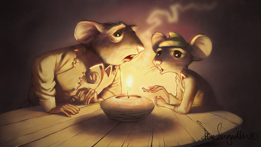 "1. ""Tale of Despereaux"" video game animation art. This is the end frame of a level transition animation. I did close to 60 of these animations for the game. Medium: Digital using Corel Painter and Adobe Photoshop. Scale/Resolution: The art exists only in digital form at high definition resolution of 1980 x 1020. Year created: 2008"