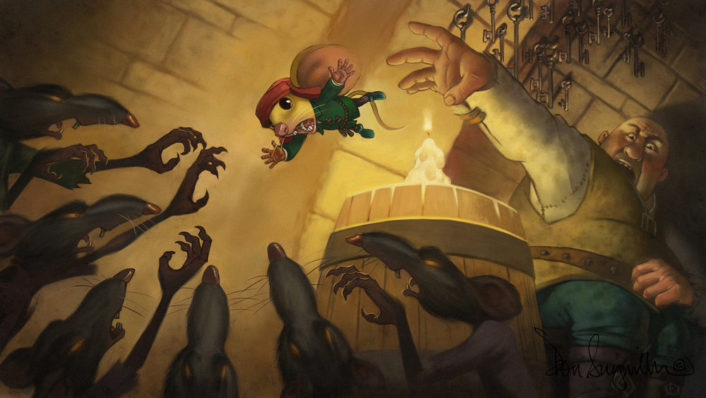 "6. ""Tale of Despereaux"" video game animation art. This is the end frame of a level transition animation. I did close to 60 of these animations for the game. Medium: Digital using Corel Painter and Adobe Photoshop. Scale/Resolution: The art exists only in digital form at high definition resolution of 1980 x 1020. Year created: 2008"