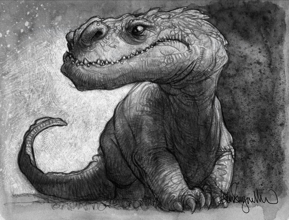 "19. ""Dinosaur Sketch"" This is a drawing from one of my sketchbooks. Medium: mixed. Scale/Resolution: 8.5"" x 11"". Year Created: 2014"