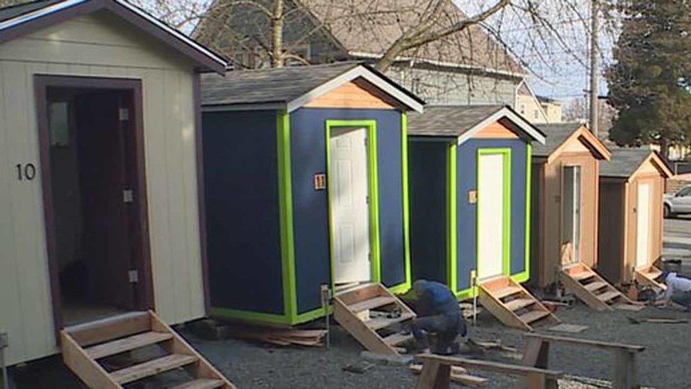 Tiny home village in Seattle, Washington