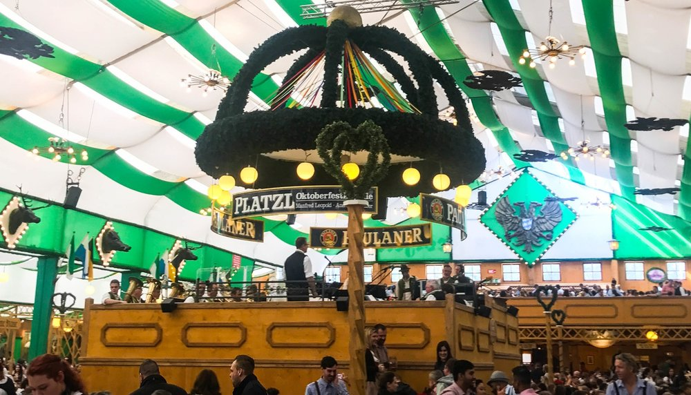 Inside Paulaner tent