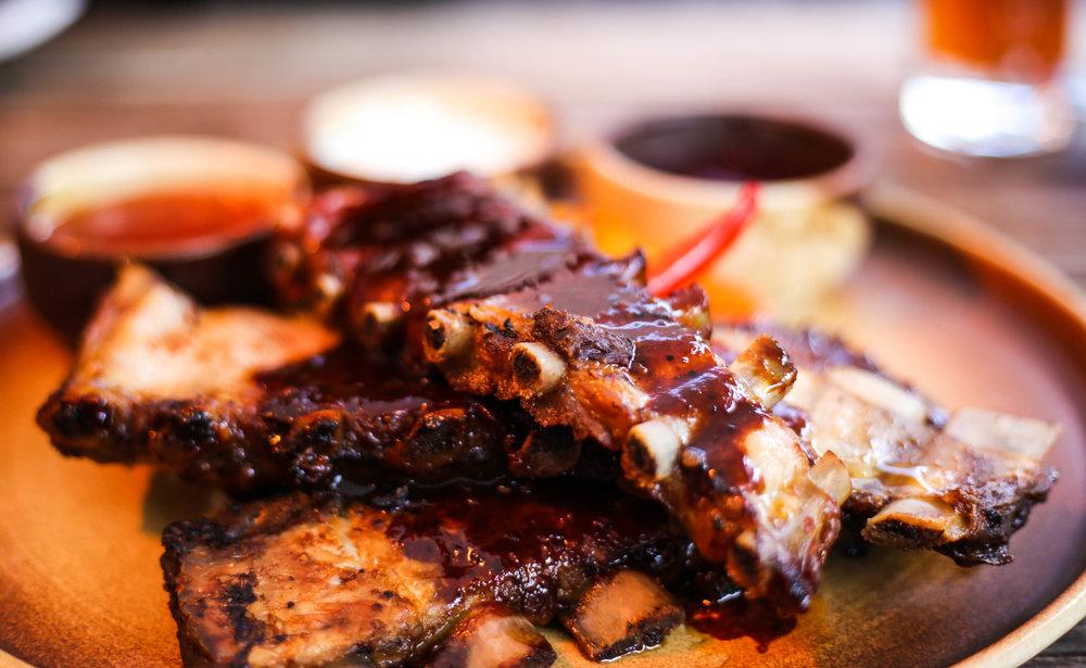 Pork ribs marinated in beer