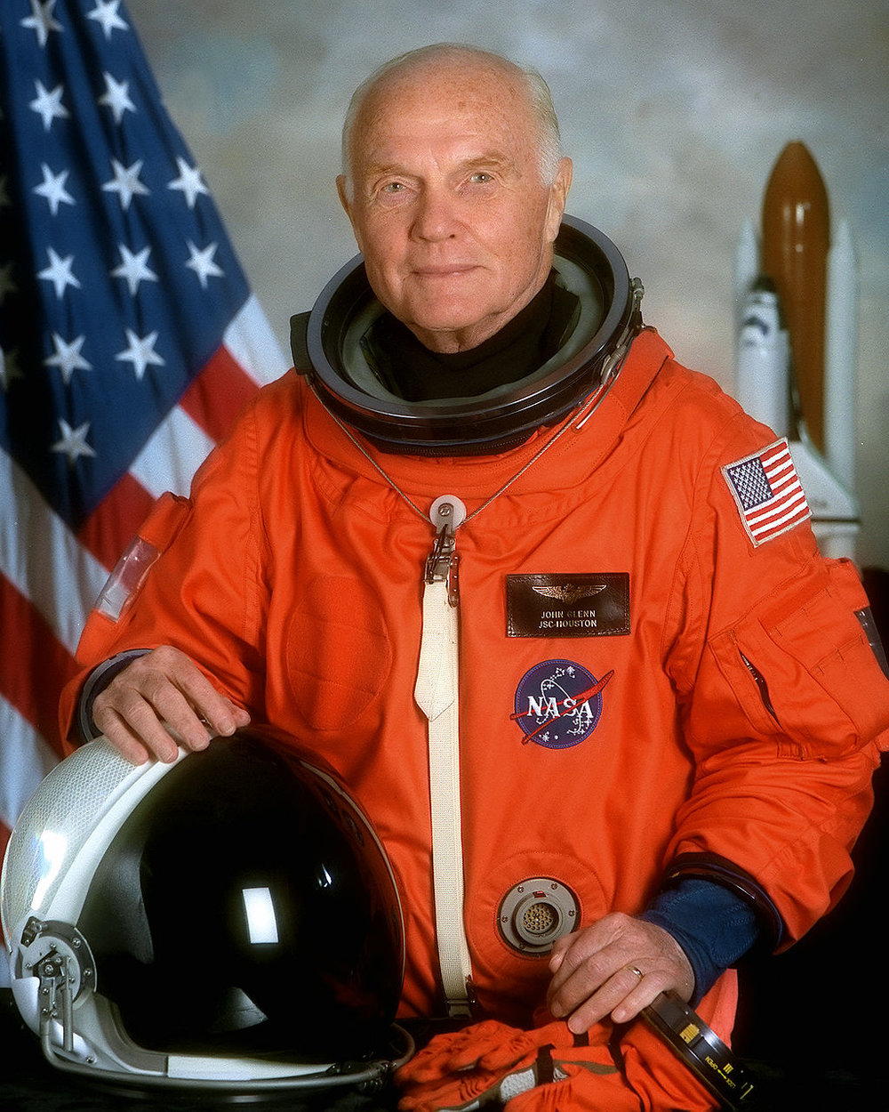 John Glenn's offical portait prior to his 1998 mission aboard the Space Shuttle Discovery. NASA