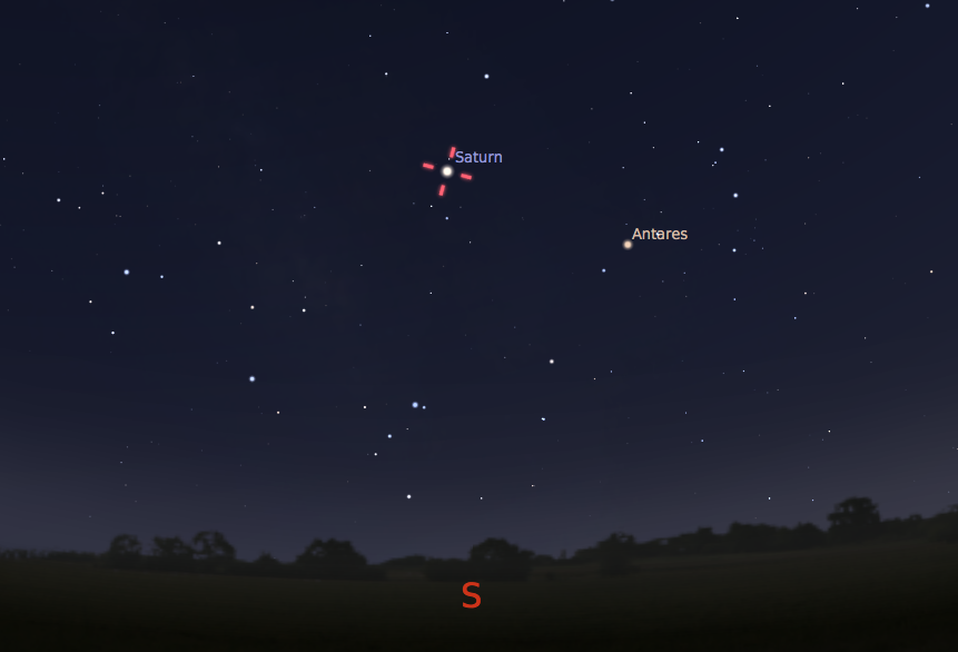 Saturn as seen in the southern sky just after 10:00 p.m. during the middle of August.