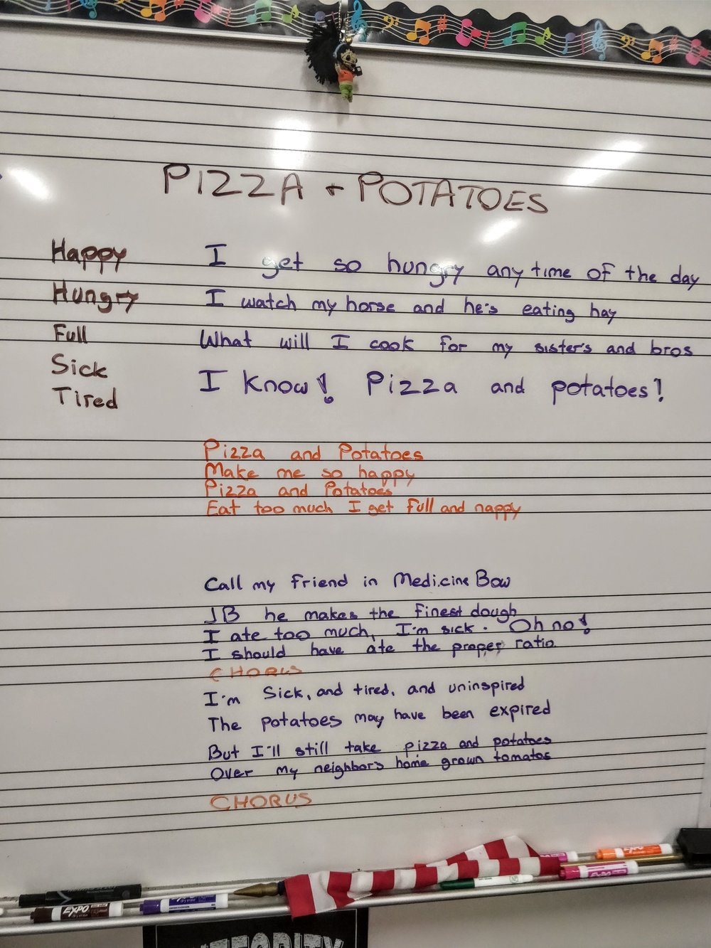 "The fifth and sixth graders wrote songs with us and we were able to perform both of them in front of thier parents and the community. The kids were so bright and took to the process really quickly. This song took less than 45 minutes to write. These are the lyrics to ""Pizza and Potatoes"", and below you can see the video of the final performance."