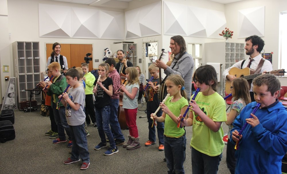K-12 Curriculum - Classes and assemblies range from sing alongs and rhythm exercises for the kids to deeper dives into music history, social studies and science applications for older students.