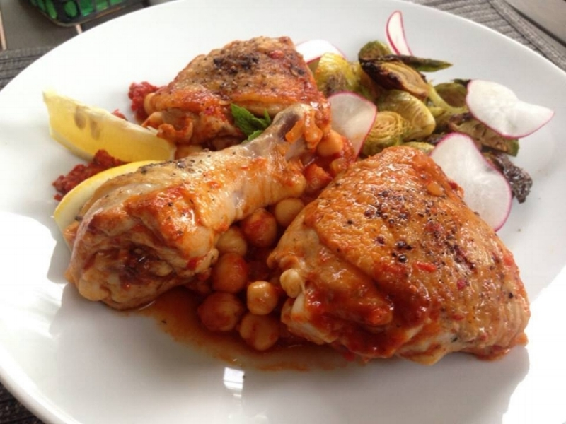 Harissa Braised Chicken & Chickpeas.
