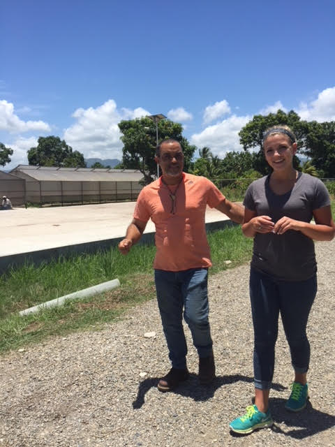 My friends dad, Max and I standing near the drying beds at a cacao industry. 7/10/16
