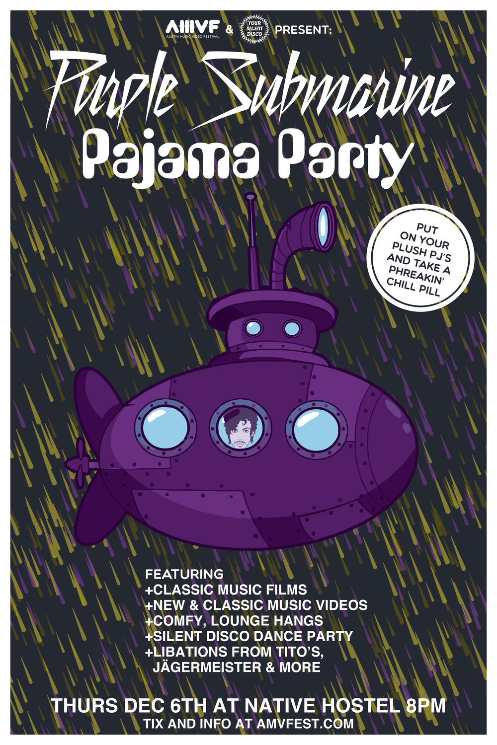 PURPLE SUBMARINE PAJAMA PARTY