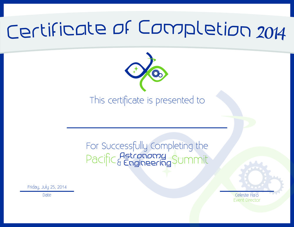 Pacific Astronomy & Engineering Summit 2014 Certificate Design