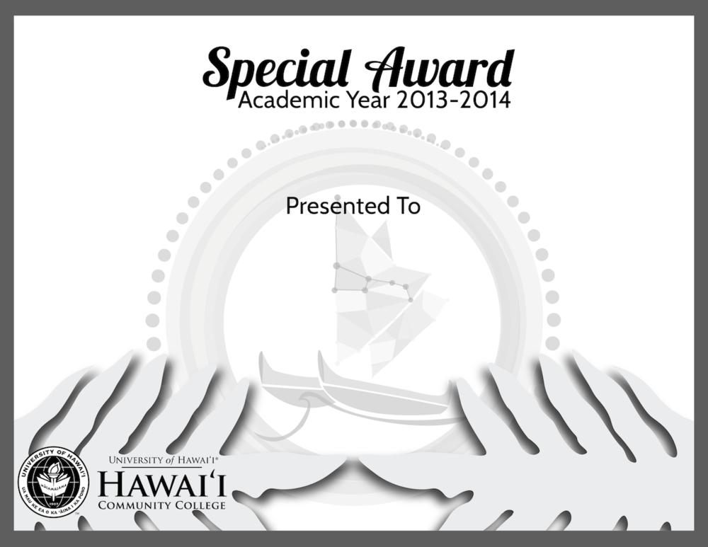 HCC Student Recognition Ceremony 2014 Certificate Design