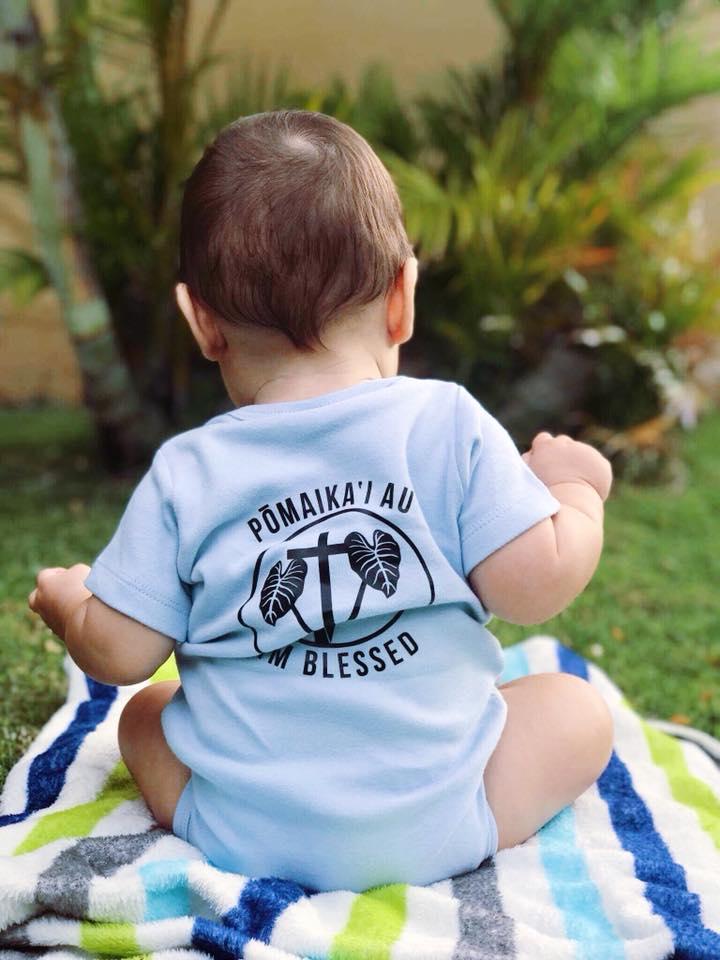 Mint I Am Blessed Baby Onesie Pomaikai Au Hawaiian Christian
