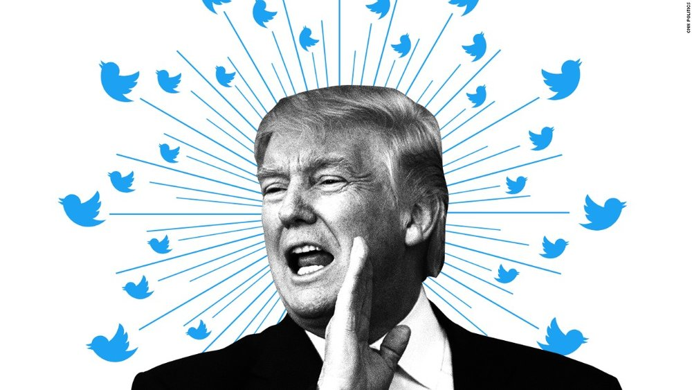 "Image of Donald Trump and a crown of Twitter logos, representing his ""Twitter-driven statecraft."""