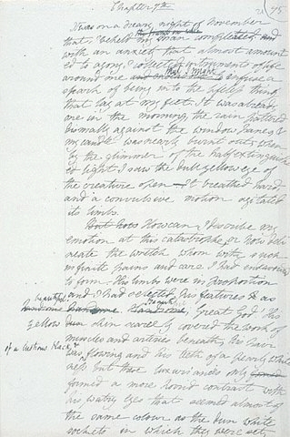 An image of Mary Shelley's draft of Frankenstein.