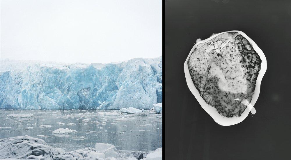 Sveabreen Glacier    Photograph, Svalbard, Norway © Shoshannah White   Beloit Glacier #5  Glacier Ice photogram, a cameraless photographic process, made on site in Alaska, Prince William Sound © Shoshannah White