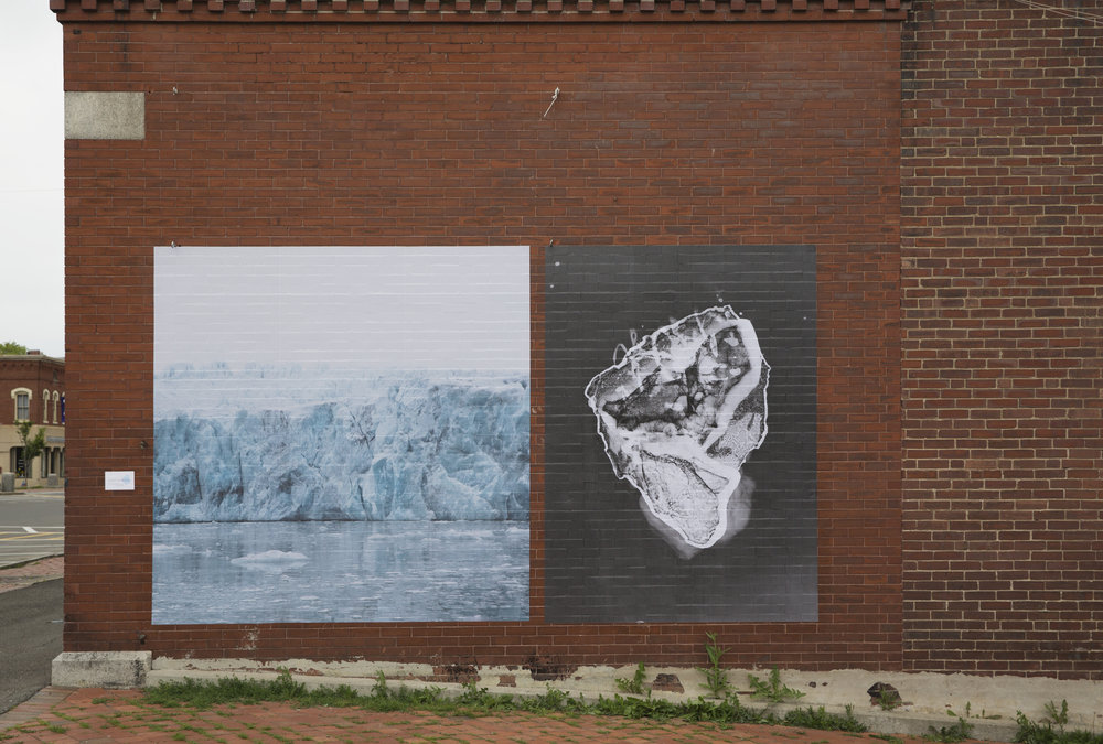 """Mural installed  H oulton, Maine: June 23, 2018, Size: 96""""x174"""" Pairing includes: Photograph , Sveabreen Glacier, Svalbard. Photogram , Barry Glacier Ice Photogram #5"""