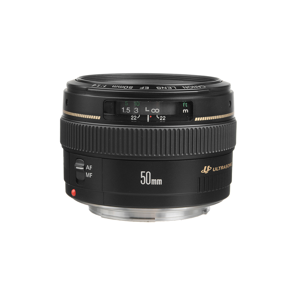Lente Canon Línea dorada, 50 mm, 1.4 F - Lente EF mount, de apertura máxima 1.4 más motor de autofoco ultrasónico.Especial para fotografía de retrato y producto.