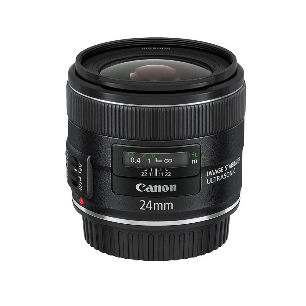 Lente Canon Linea dorada, 24 mm, 2.8 F - Lente EF Mount, de apertura máxima de 2.8, gran angular para paisaje con Estabilizador de imagen y motor ultrasónico.