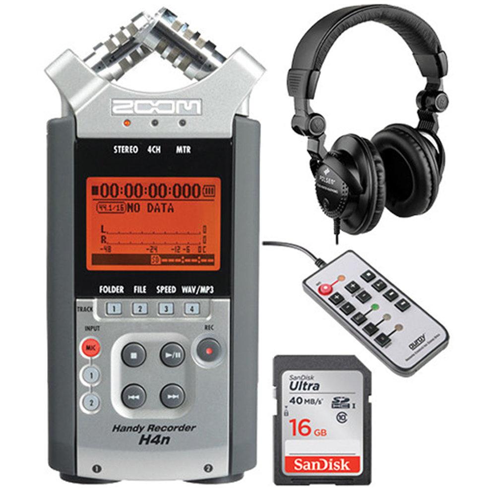 Grabadora de Audio Zoom H4N - Portable grabadora de Audios de 4 canales de grabación, Audifonos y control remoto. Contiene memoria de 16 GB.