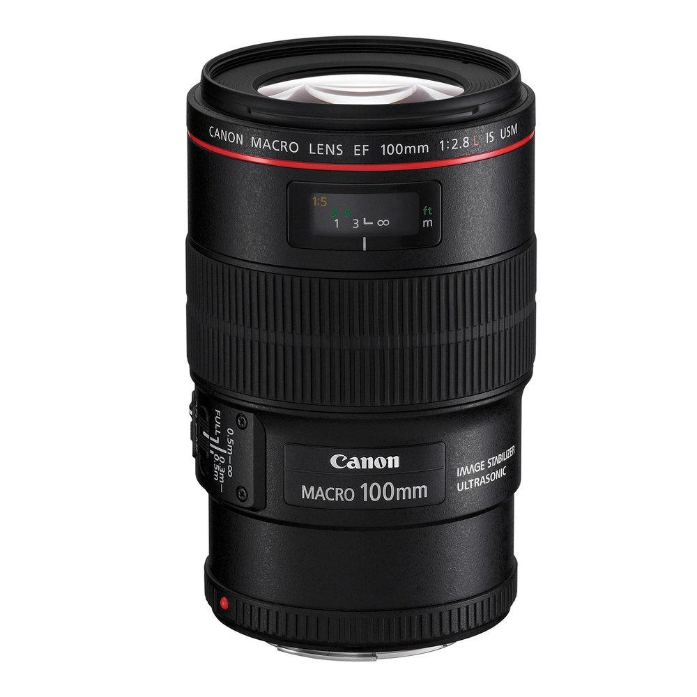 Lente Canon Serie L, Macro 100 mm, 2.8 F - Lente EF mount, de apertura máxima 2.8, más foco con motor ultrasónico. Tiene estabilizador de imagen y es especial para Macrofotografía de insectos, detalles, retratos y planos cerrados.