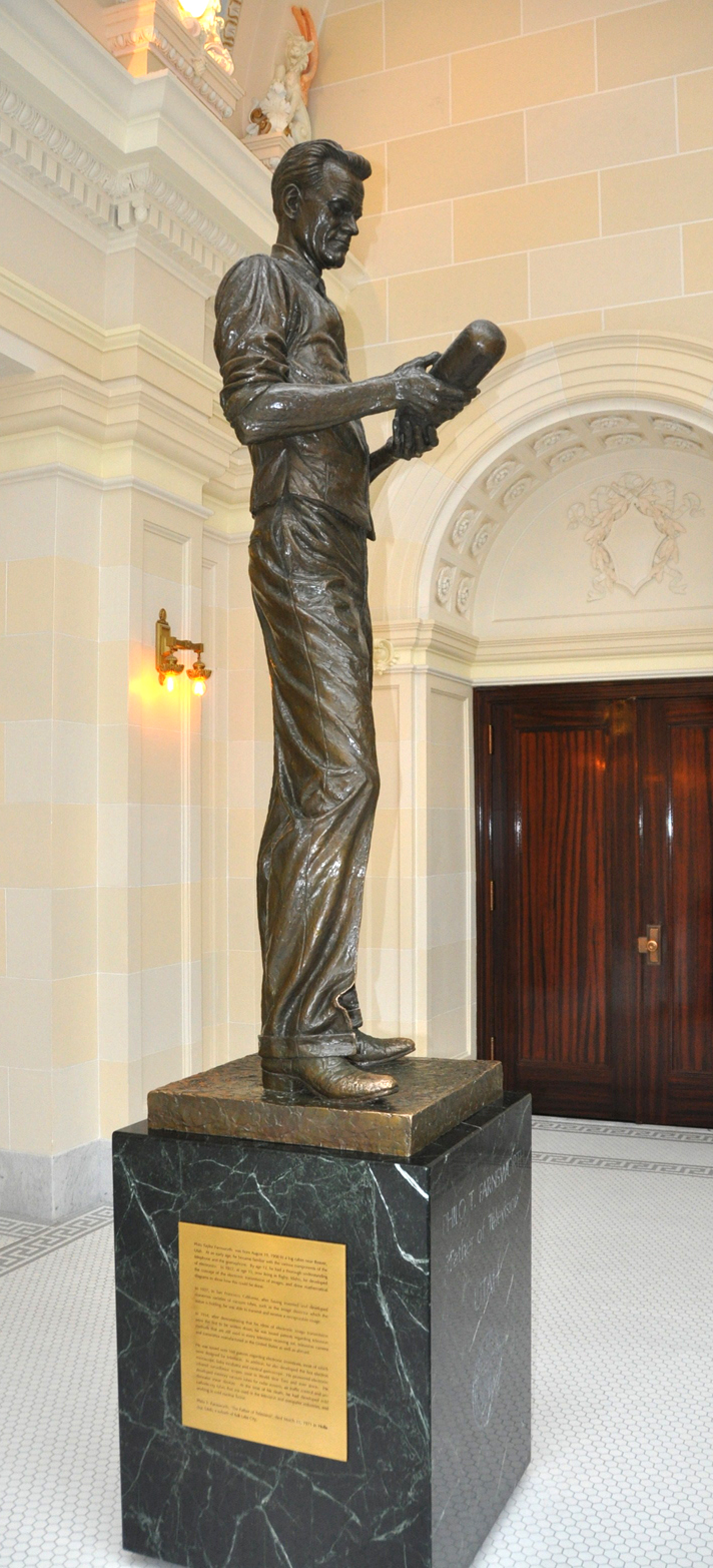 A bronze statue of Farnsworth sits inside the Utah State Capitol, in Salt Lake City.