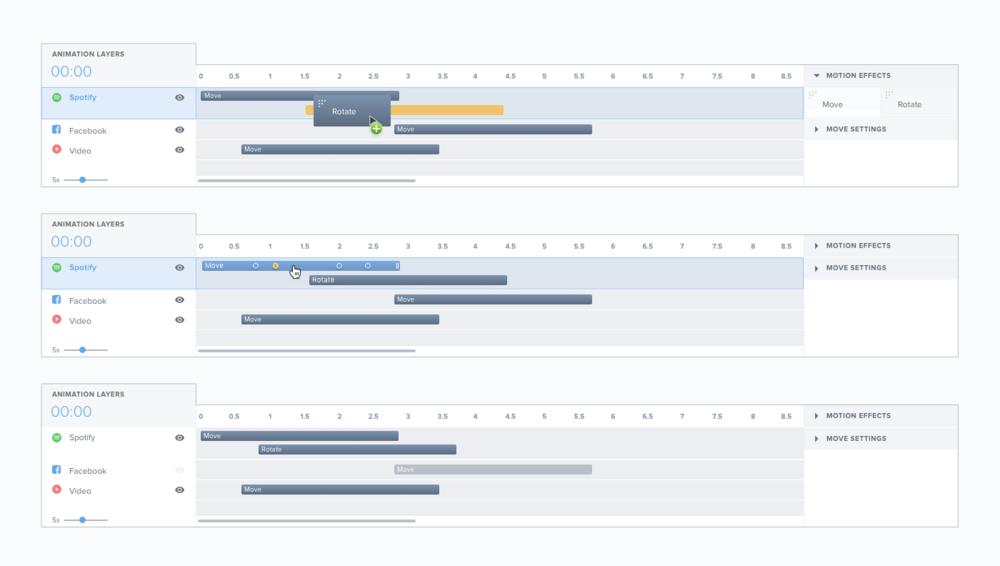 Animation Timeline States: Drag, Click with Keyframes, Hide