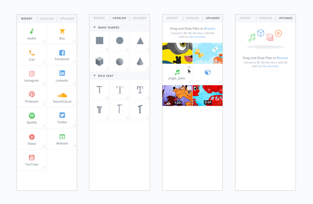 Panel for Widgets, Catalog (Primitive Shapes and Rich Text), and Upload Library