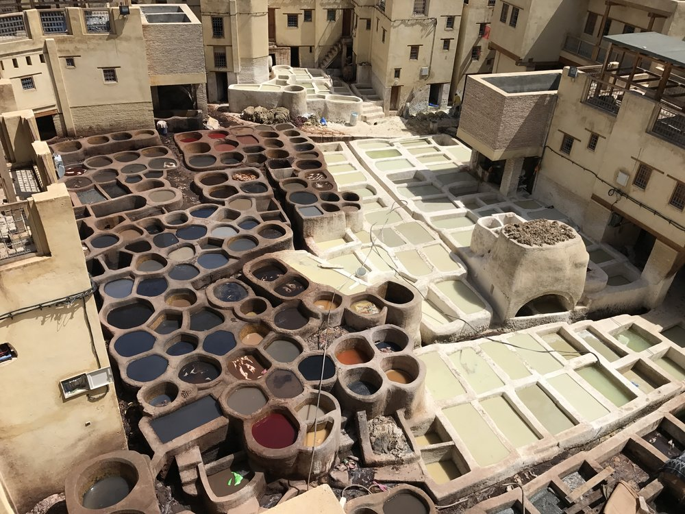 Leather tanneries in Fez, Morocco.   Photo by: Leslie Harwell