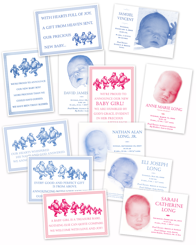Baby announcements for a sweet family with six children. With the birth of each child, a new bear is added to the front of the card as well as to the envelope flap as shown below.