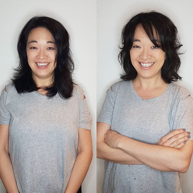 FRESH cut for this momma 🤩 . . Cut & style by Luis M #vanstylist #hairinspo #hairlove #hairinspo #inspo #layeredhaircut #mastercut #effortlesschic #shorthair #asianhair #vancouver