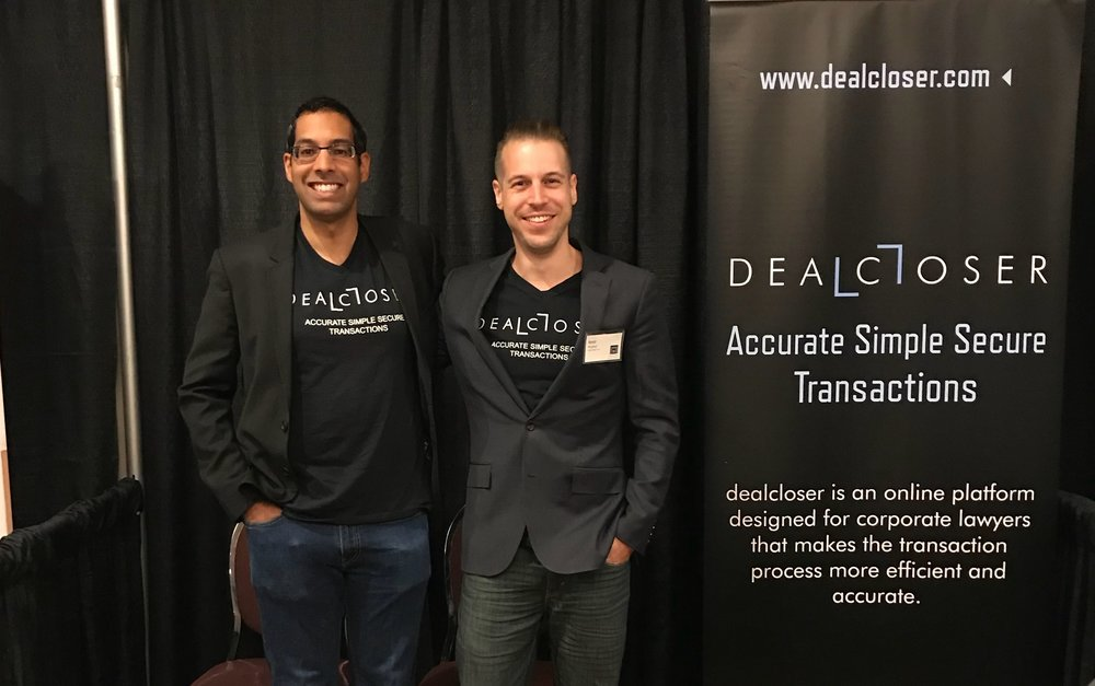 dealcloser's co-founders, Ashvin Singh and Amir Reshef at the LESA Legal Technology Conference 2018.