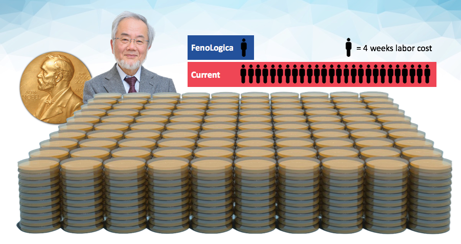 Nobel Prize Laureate   Dr. Yoshinori Oshumi's ground-breaking genetic experiments took 26 weeks of labor (over 2 years). FenoLogica's technology would enable a 4-week timeframe for the same experiments!