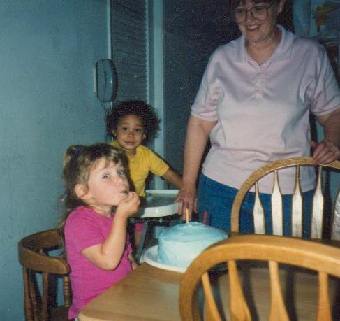 My Momma, sister Shannon and I on my third birthday.