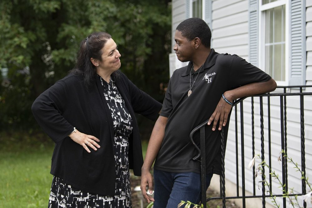 JOSE F. MORENO / STAFF PHOTOGRAPHER Andrew Cambridge, interacts with his doctor, Renee Turchi, at his home in Willow Grove.