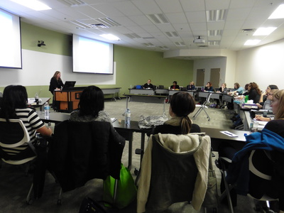 Willliams shared her FASD research with Faculty of Social Work Learning Circle students from across the province. Students attended the session either in-person in Grande Prairie or via video conference from other Learning Circle sites.  Photo courtesy of Dorothy Badry