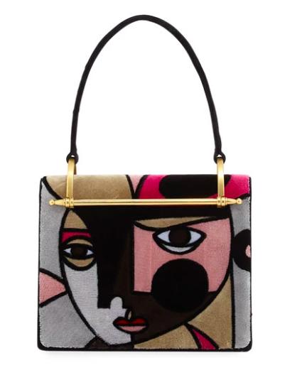 Prada - Picasso / Cubist inspired velvet handbag. $3100