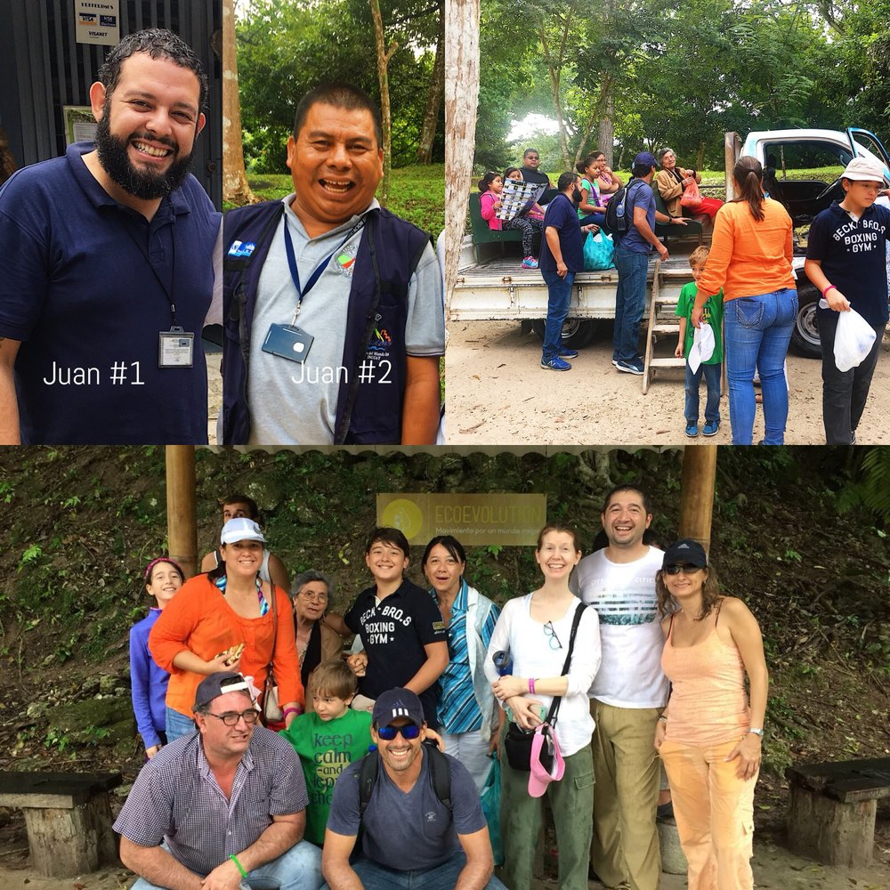 Our guides (left), Abuelita boarding Tikal's transportation to the main plaza (right), our motley crew (bottom).
